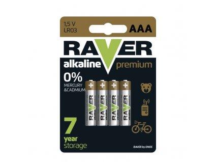 Raver Alkalická baterie RAVER PREM LR03 (AAA), blistr B7611