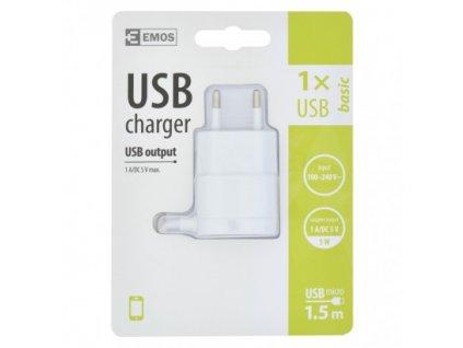 EMOS Univerzální USB adaptér BASIC do sítě 1A (5W) max., kabelový V0116