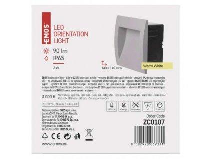 EMOS Lighting LED orientační vestavné svítidlo 140×140, 3W teplá bílá,IP65 ZC0107