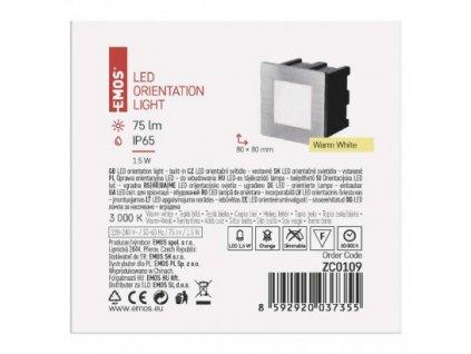 EMOS Lighting LED orientační vestavné svítidlo 80×80, 1,5W teplá bílá,IP65 ZC0109