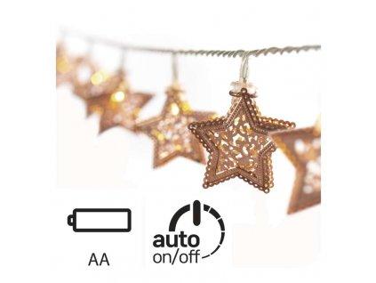 EMOS Lighting LED vánoční girlanda – hvězdy kovové, 3× AA, teplá b., čas. ZY1975
