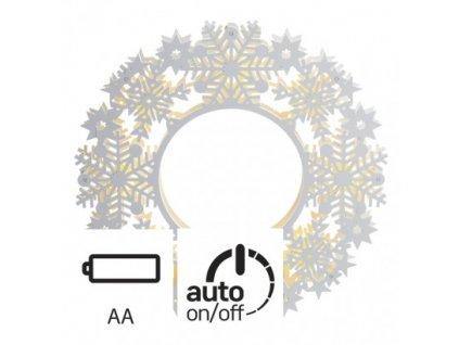 EMOS Lighting LED vánoční věnec, 30×30cm, 2× AA, vnitřní, teplá bílá, čas. ZY1959