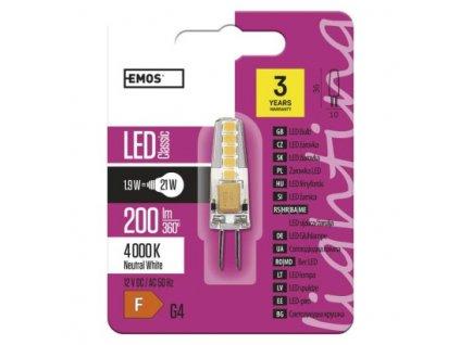EMOS Lighting LED žárovka Classic JC A++ 2W 12V G4 neutrální bílá ZQ8621
