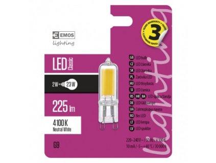 EMOS Lighting LED žárovka Classic JC A++ 2W G9 neutrální bílá ZQ9521
