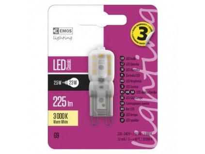 EMOS Lighting LED žárovka Classic JC A++ 2,5W G9 teplá bílá ZQ9522