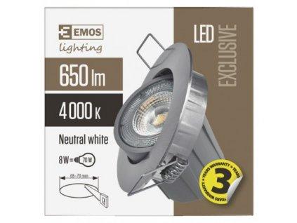 EMOS Lighting LED bodové svítidlo Exclusive stříbrné, kruh 8W neutrální b. ZD3242