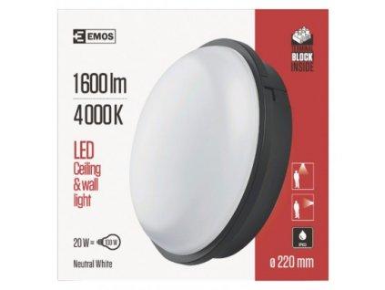 EMOS Lighting LED přisazené svítidlo, kruhové černé 20W neutrální b., IP65 ZM3011