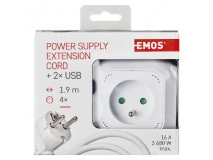 EMOS Rozbočovací kostka s prodl. přívodem – 4 zás. + 2× USB, 1,9m P04119U