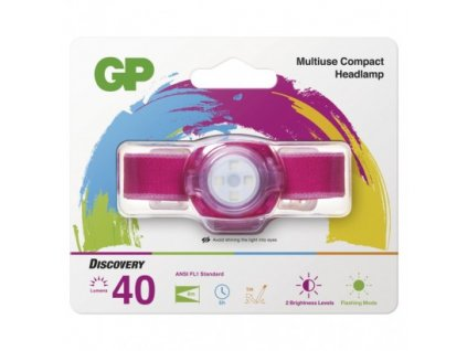 GP Batteries LED čelovka a světlo GP Everybody CH31, 40 lm, růžová P8551P