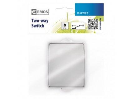 EMOS Přepínač nástěnný schodišťový č. 1,6 IP54, 1 tlačítko A1398.3