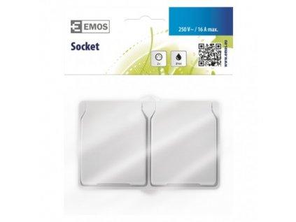 EMOS Zásuvka nástěnná dvojitá, bílá, IP44 A1397.3