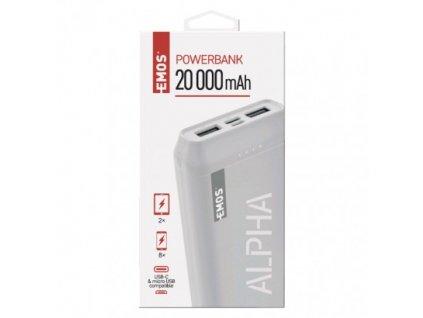 Powerbanka EMOS Alpha 20, 20000 mAh, bílá + kabel USB-C