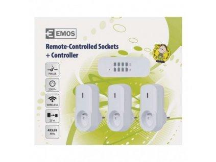 EMOS Dálkově ovládané zásuvky, bílé P0070