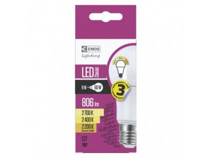EMOS LED žárovka Classic A60 9W E27 teplá bílá, stmívatelná ZQ5140W