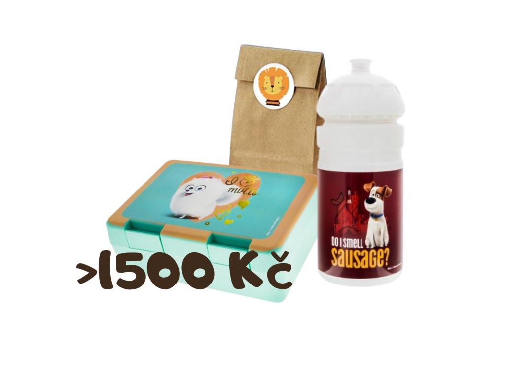 Dárek k objednávce nad 1500 Kč (zvířátkový pytlíček + svačinový box + láhev na pití)
