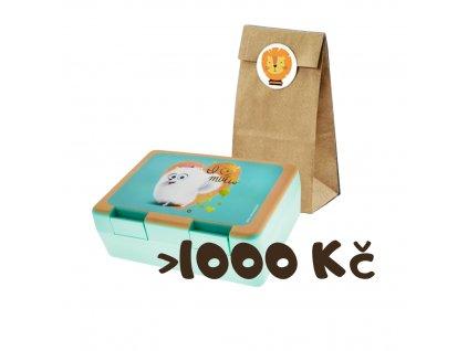 Dárek k objednávce nad 1000 Kč (zvířátkový pytlíček + svačinový box)
