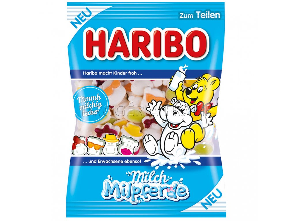 haribo milch milpferde ovocne mliecne zele cukriky 175 g
