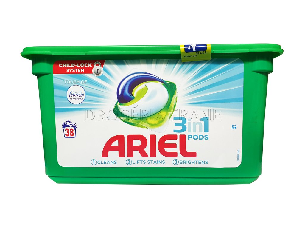 ariel 3 in 1 febreze kaspsule na pranie 38 ks
