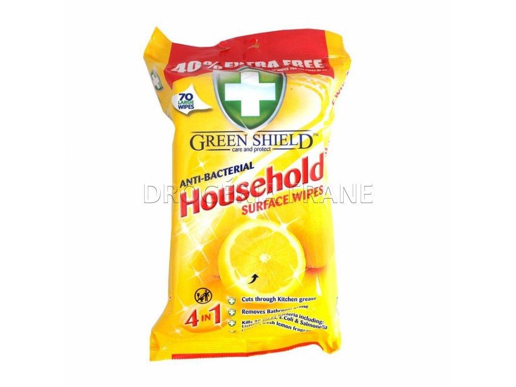 Čistiace obrúsky antibakteriálne GREEN SHIELD household - 70 ks