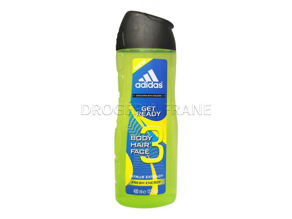 sprchovy gel adidas get ready na telo tvar a vlasy 400 ml