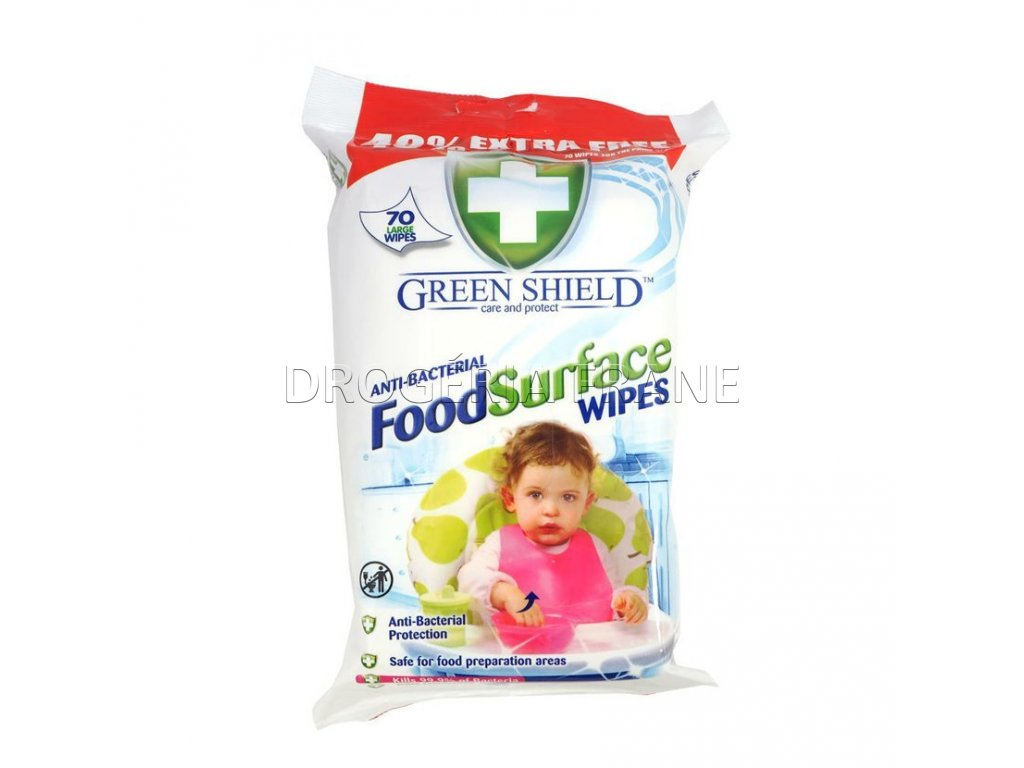 cistiace obrusky antibakterialne green shield food surface 70 ks
