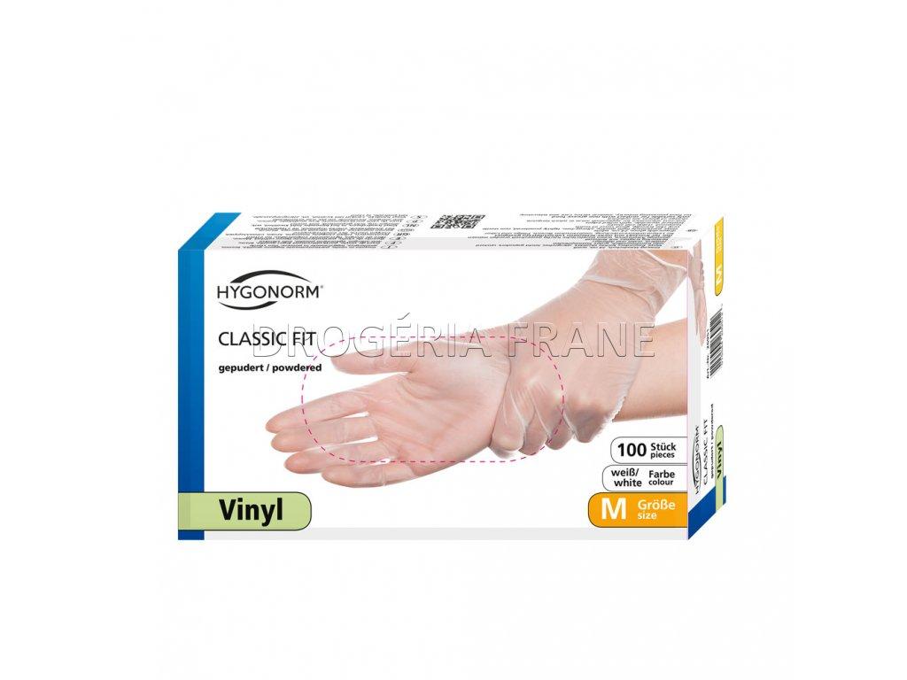 rukavice vinylove hygonorm classic fit pudrovane 100 ks