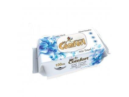 vlhcene obrusky comfort premium floral paradise modre 100 ks
