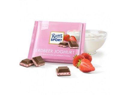 ritter sport mliecna cokolada erdbeer joghurt 100 g