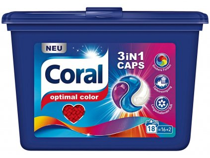 kapsule na pranie coral 3 v 1 optimal color caps 18 ks