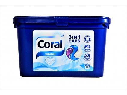 kapsule na pranie coral 3 v 1 optimal white caps 18 ks