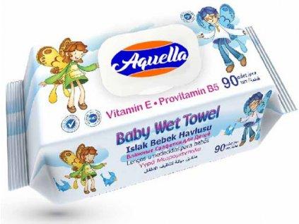 vlhcene obrusky aquella baby wet towel vitamin 90 ks