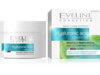 17075 eveline skin care expert intenzivne hydratacny a detoxikacny krem kys hyaluronova a zeleny caj 50ml