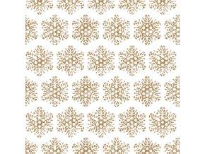Papir Szalveta 3 retegu Snow Crystal gold 33x33cm feher arany S 20 i418677