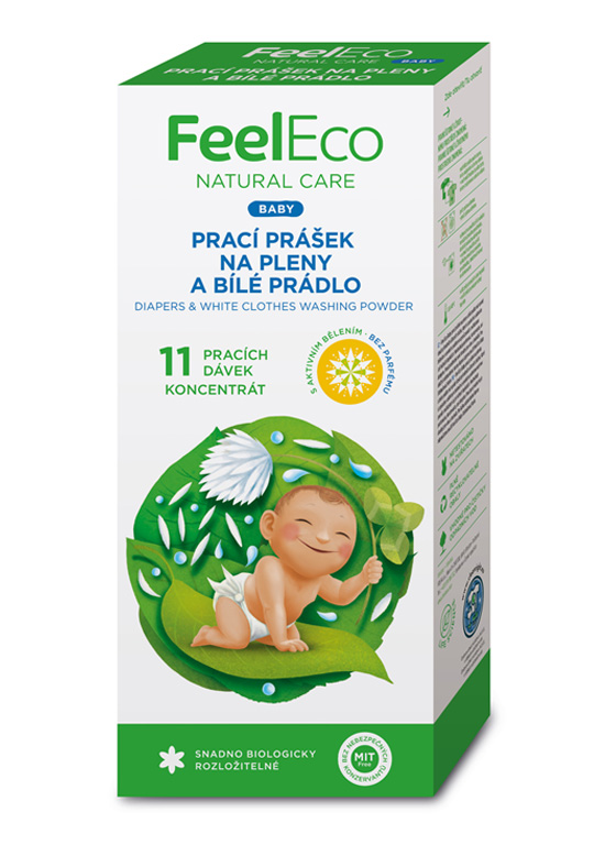 FeelEco Baby prací prášok na plienky a bielu bielizeň, 660g, 11PD