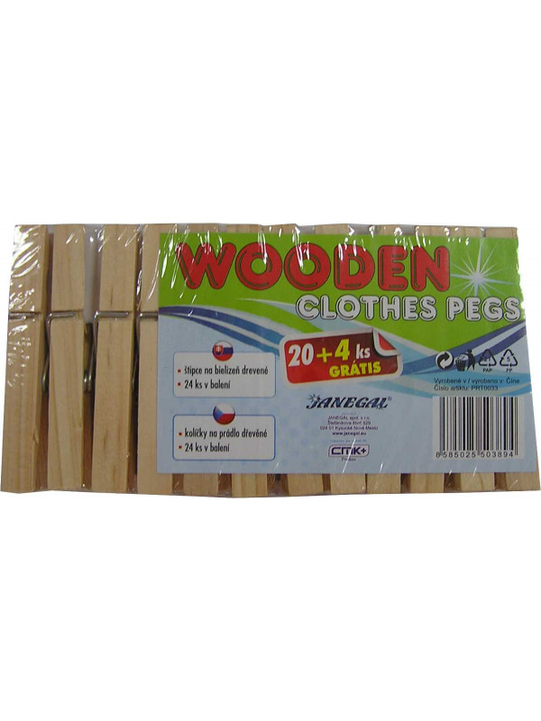 Janegal Štipce na prádlo drevené 24ks