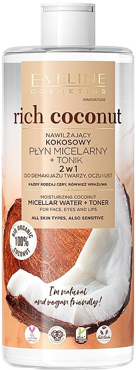 Eveline Cosmetics EVELINE Rich Coconut hydratačná kokosová micelárna voda + tonikum 2v1 500ml