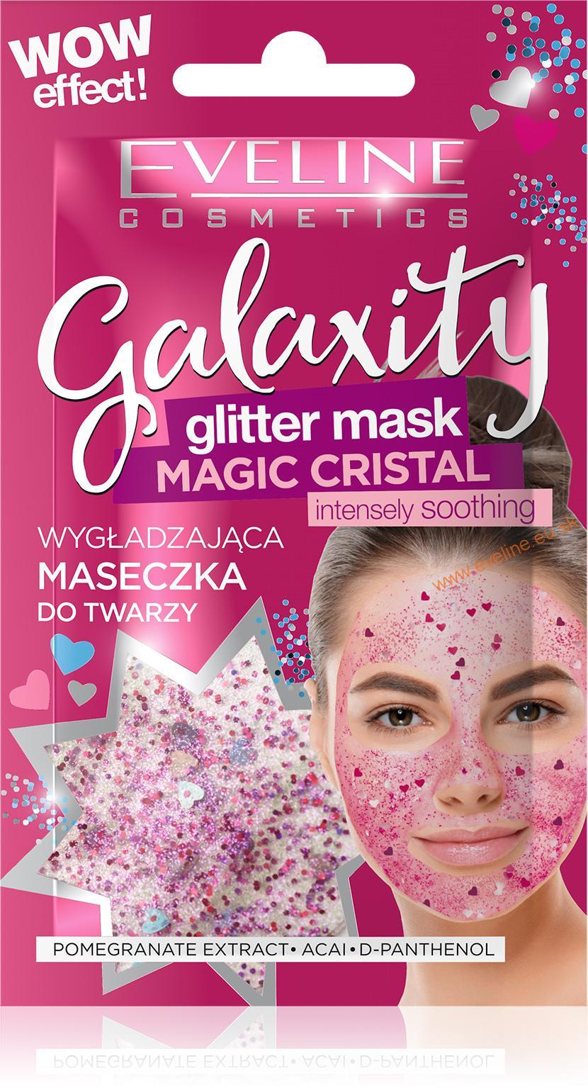 Eveline Cosmetics EVELINE Galaxity glitrová maska MAGIC CRYSTAL intenzívne vyhladzujúca glitrová maska 1ks