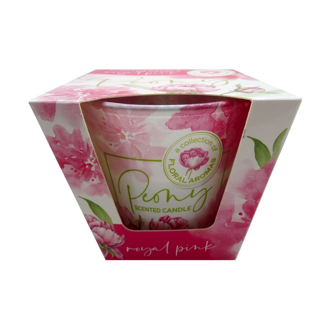 Levně Vonná svíčka dlouhotrvající 115g Vůně svíčky: FLORAL AROMAS Royal Pink Peony (růžová pivoňka)