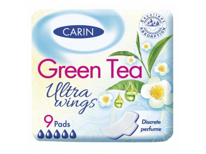 Carin Ultra Wings Green Tea hygienické vložky, 9 kusů