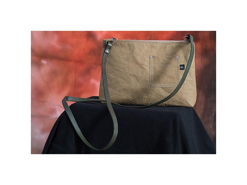 Dámská kabelka Bony písková s khaki uchem z Kraft Texu
