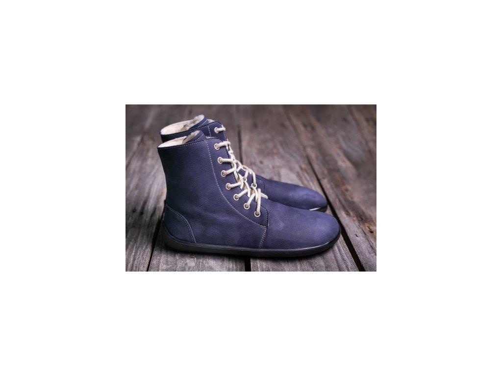 Barefoot kotníková obuv Winter marine 1