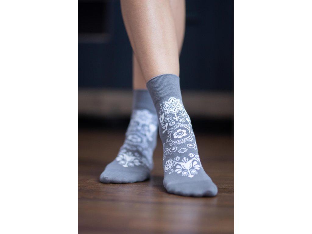 Barefoot ponožky Folk - šedé