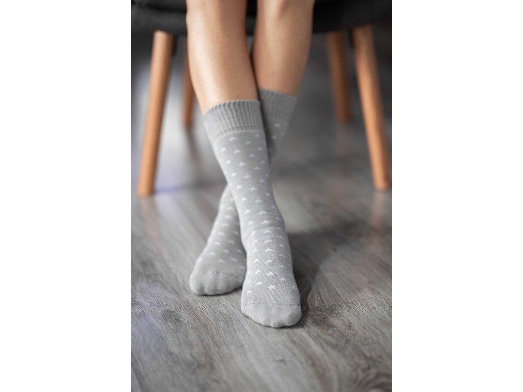 Zimní barefoot ponožky - Hvězdy - Šedé