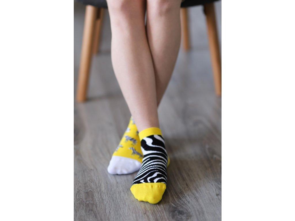 Barefoot ponožky krátké - Zebra