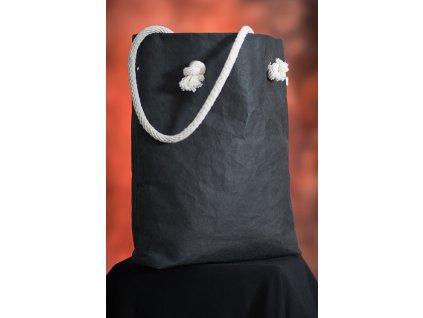 Dámská kabelka Vilma černá s bílým lanovým uchem z Kraft Texu