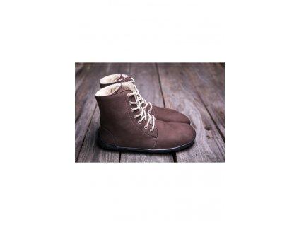 Barefoot kotníková obuv Winter čokoládová 2