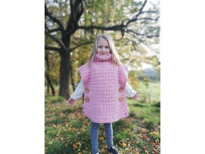 Dětská ručně pletená růžová holčičí vesta s rolákem 6
