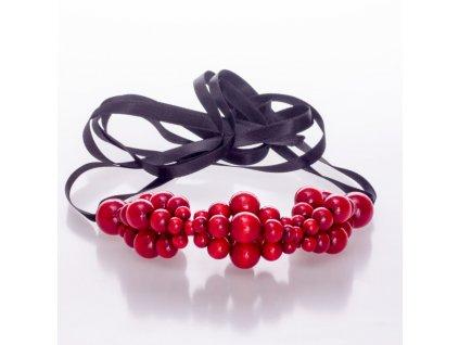 Dřevěný náhrdelník Waves červený 1