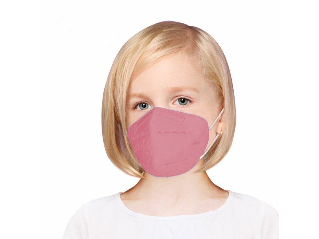 Gyermek légzésvédő maszk FFP2 rózsaszín - 50 db