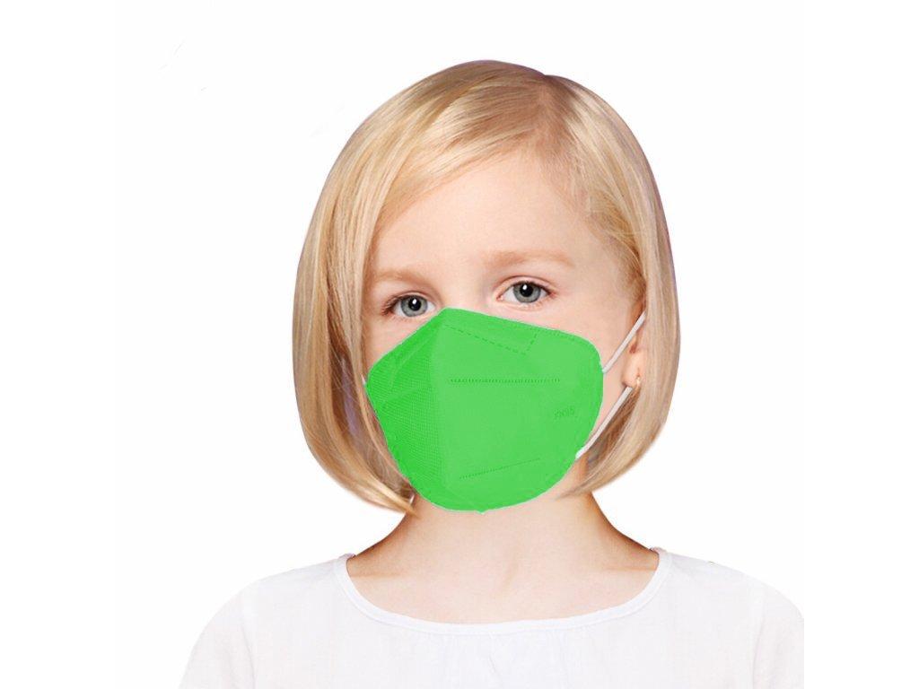 Gyermek légzésvédő maszk FFP2 zöld - 5 db